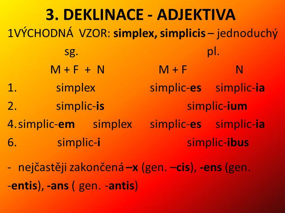 3.DEKLINACE - ADJEKTIVA 1VÝCHODNÁ VZOR: simplex, simplicis – jednoduchý sg.pl.