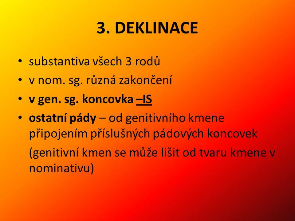 3.DEKLINACE substantiva všech 3 rodů v nom. sg. různá zakončení v gen.