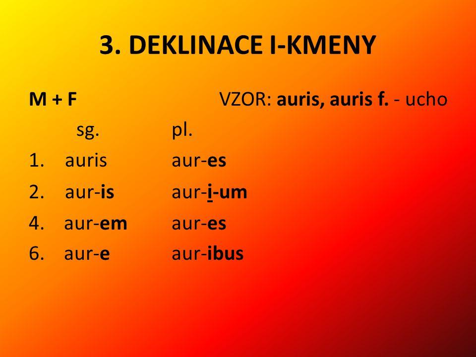 3.DEKLINACE I-KMENY M + FVZOR: auris, auris f. - ucho sg.pl.