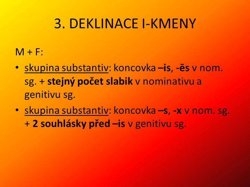 3.DEKLINACE I-KMENY M + F: skupina substantiv: koncovka –is, -ēs v nom.