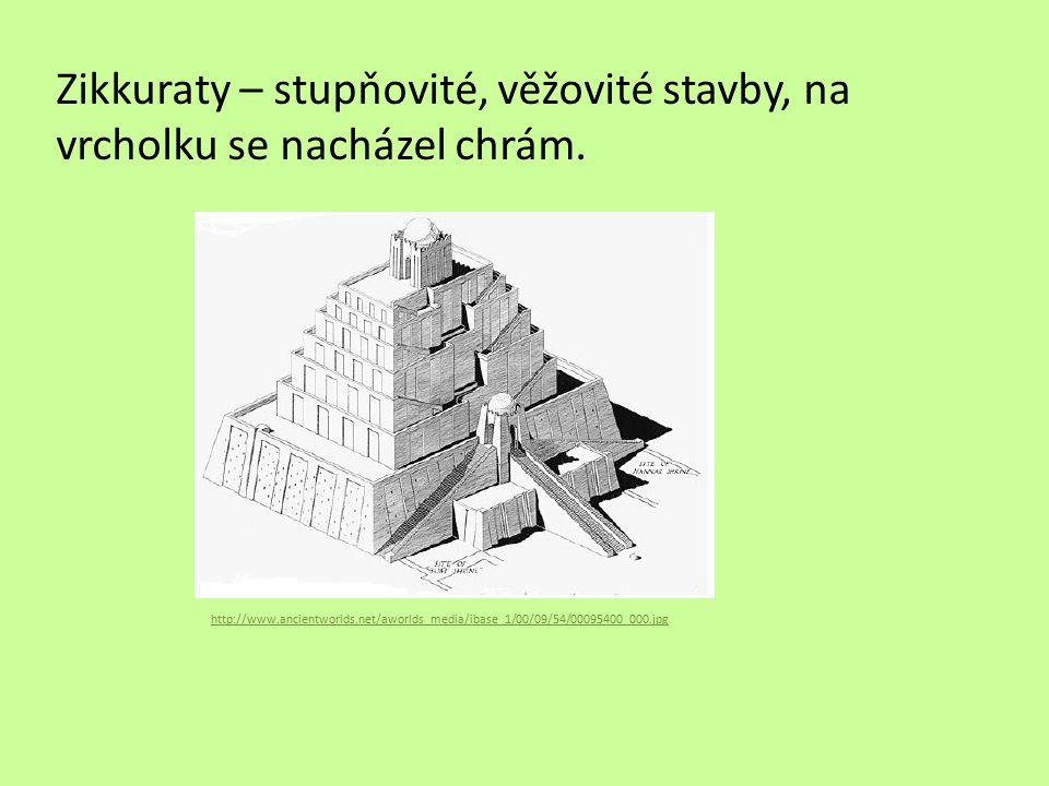 Zápis Kultura Mezopotámie Polyteismus Klínové písmo na hliněných destičkách Rozvoj matematiky a astronomie Mozaiky z cihliček Zikkuraty