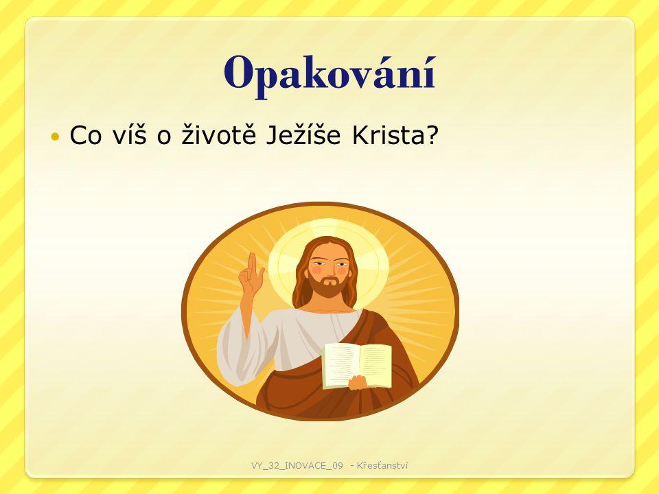 Opakování Co víš o životě Ježíše Krista? VY_32_INOVACE_09 - Křesťanství