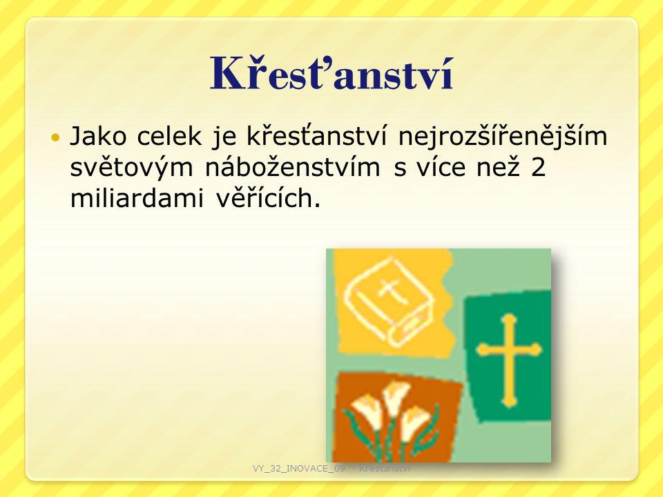 K ř es ť anství Jako celek je křesťanství nejrozšířenějším světovým náboženstvím s více než 2 miliardami věřících.