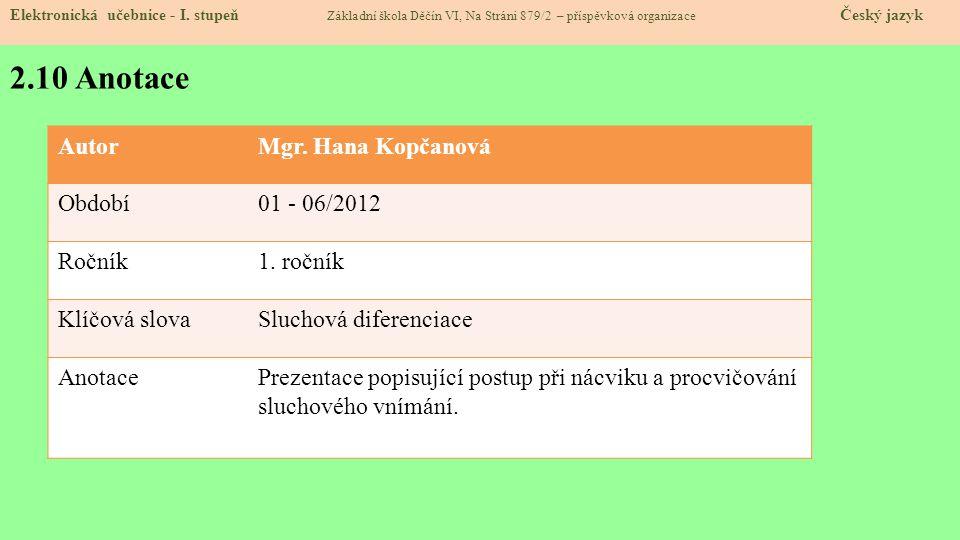 2.10 Anotace Elektronická učebnice - I.