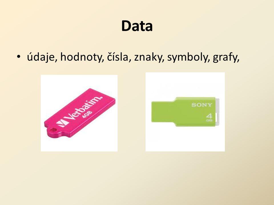 Data údaje, hodnoty, čísla, znaky, symboly, grafy,