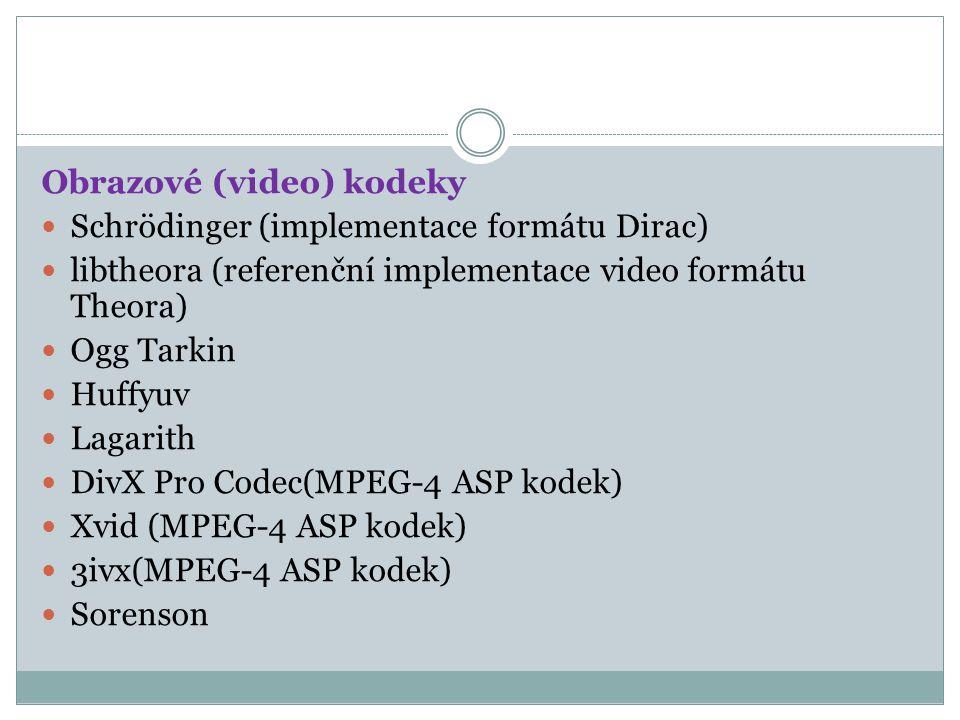 Obrazové (video) kodeky Schrödinger (implementace formátu Dirac) libtheora (referenční implementace video formátu Theora) Ogg Tarkin Huffyuv Lagarith DivX Pro Codec(MPEG-4 ASP kodek) Xvid (MPEG-4 ASP kodek) 3ivx(MPEG-4 ASP kodek) Sorenson