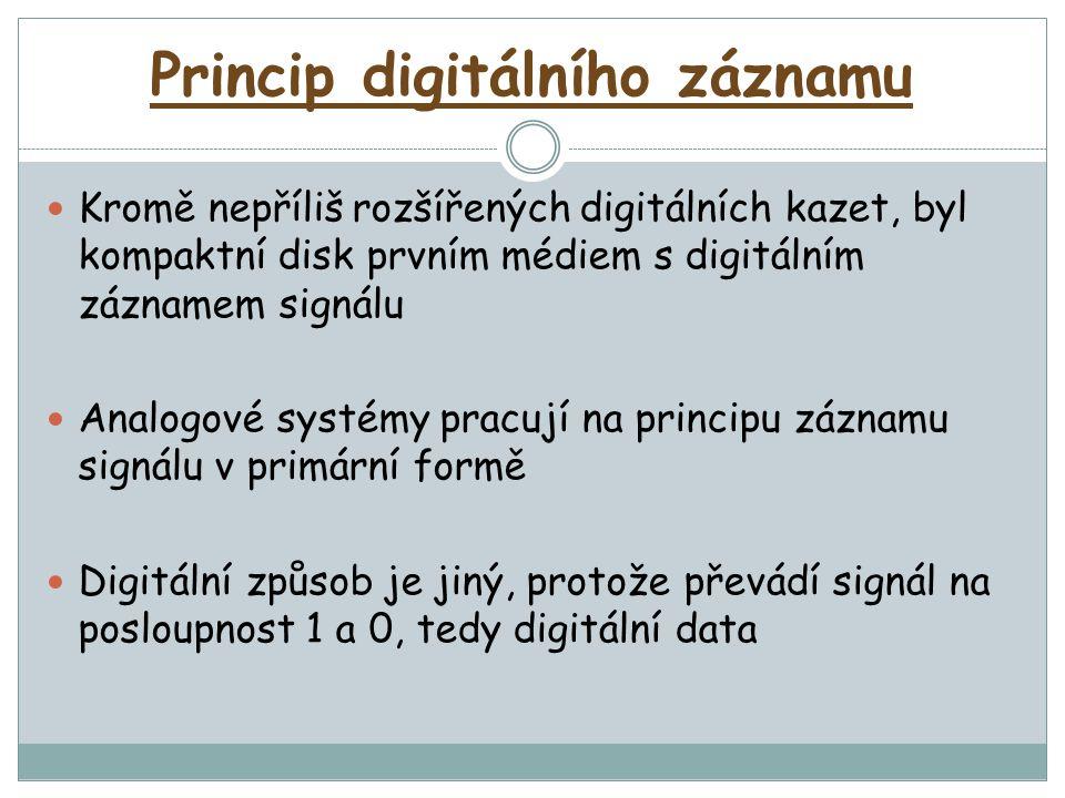 Princip digitálního záznamu Kromě nepříliš rozšířených digitálních kazet, byl kompaktní disk prvním médiem s digitálním záznamem signálu Analogové systémy pracují na principu záznamu signálu v primární formě Digitální způsob je jiný, protože převádí signál na posloupnost 1 a 0, tedy digitální data
