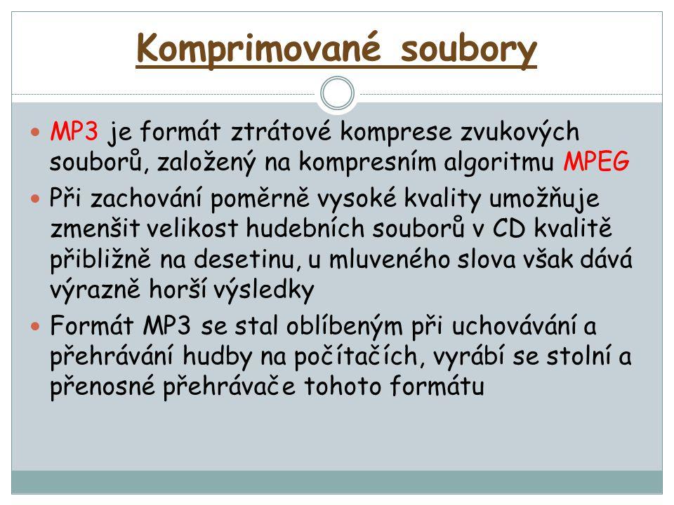 Komprimované soubory MP3 je formát ztrátové komprese zvukových souborů, založený na kompresním algoritmu MPEG Při zachování poměrně vysoké kvality umožňuje zmenšit velikost hudebních souborů v CD kvalitě přibližně na desetinu, u mluveného slova však dává výrazně horší výsledky Formát MP3 se stal oblíbeným při uchovávání a přehrávání hudby na počítačích, vyrábí se stolní a přenosné přehrávače tohoto formátu
