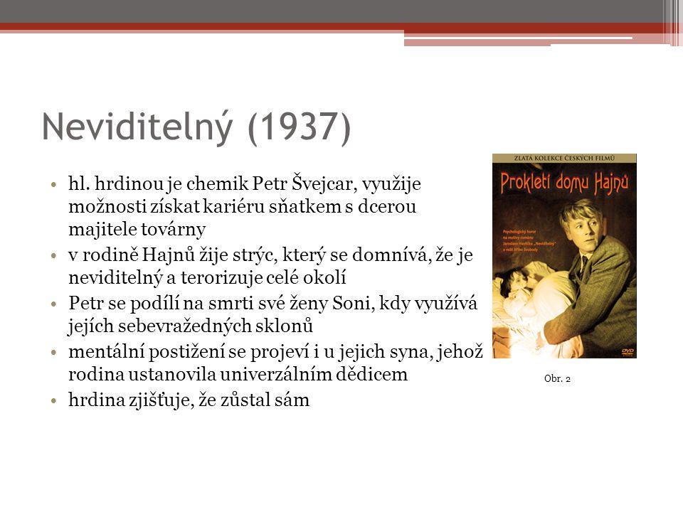 Neviditelný (1937) hl. hrdinou je chemik Petr Švejcar, využije možnosti získat kariéru sňatkem s dcerou majitele továrny v rodině Hajnů žije strýc, kt