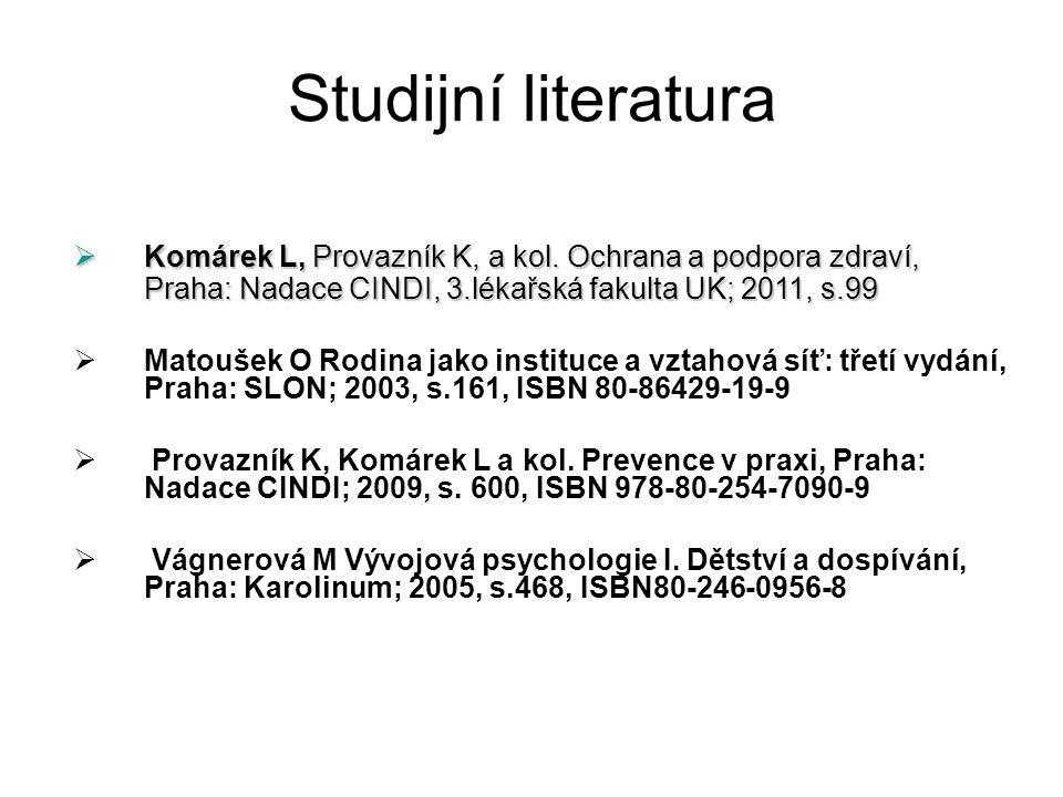 Studijní literatura  Komárek L, Provazník K, a kol. Ochrana a podpora zdraví, Praha: Nadace CINDI, 3.lékařská fakulta UK; 2011, s.99  Matoušek O Rod