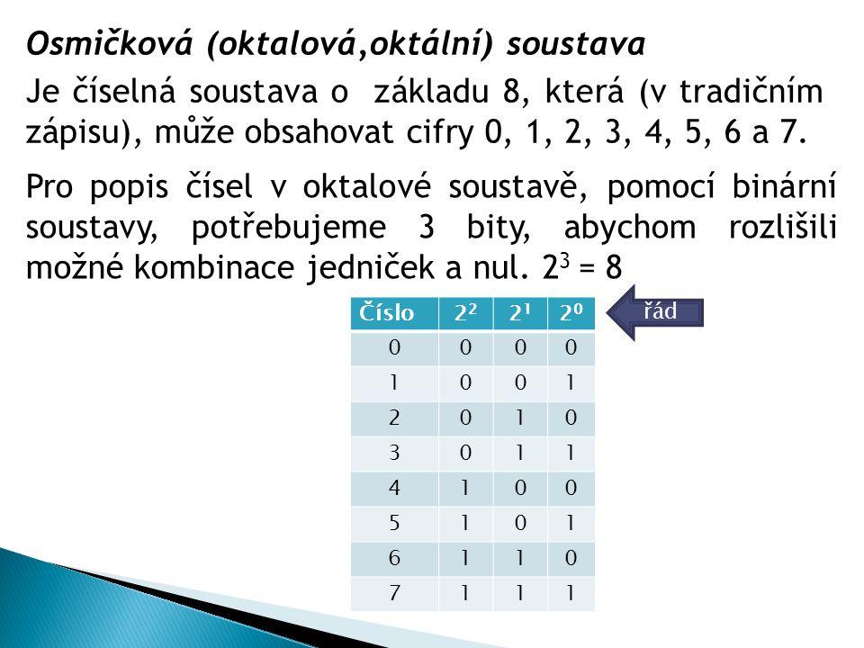 Osmičková (oktalová,oktální) soustava Je číselná soustava o základu 8, která (v tradičním zápisu), může obsahovat cifry 0, 1, 2, 3, 4, 5, 6 a 7. Číslo