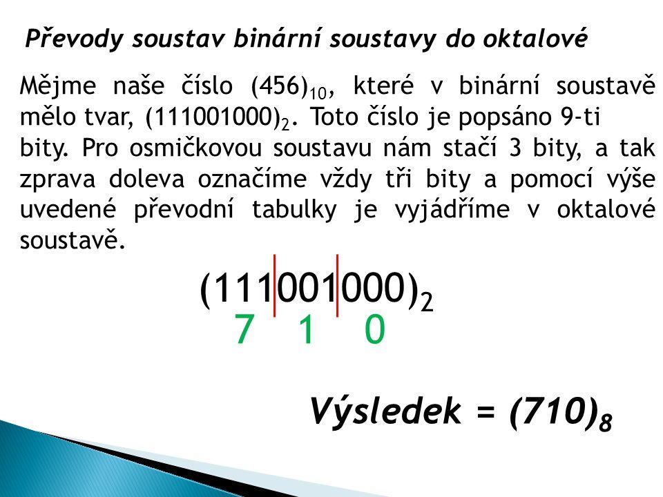 Převody soustav binární soustavy do oktalové Mějme naše číslo (456) 10, které v binární soustavě mělo tvar, (111001000) 2. Toto číslo je popsáno 9-ti