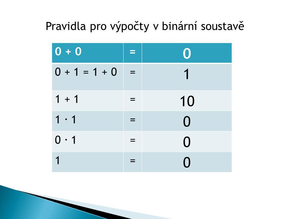 0 + 0= 0 0 + 1 = 1 + 0= 1 1 + 1= 10 1  1= 0 0  1= 0 1= 0 Pravidla pro výpočty v binární soustavě