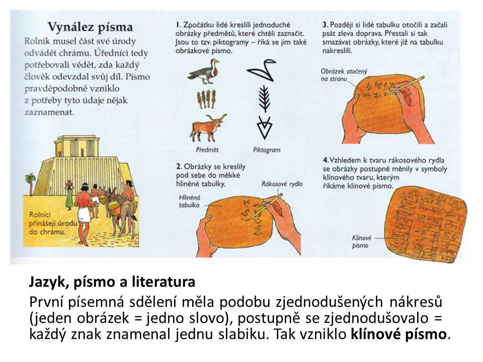 Jazyk, písmo a literatura První písemná sdělení měla podobu zjednodušených nákresů (jeden obrázek = jedno slovo), postupně se zjednodušovalo = každý z