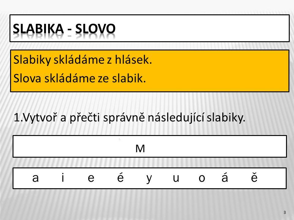 3 Slabiky skládáme z hlásek. Slova skládáme ze slabik.