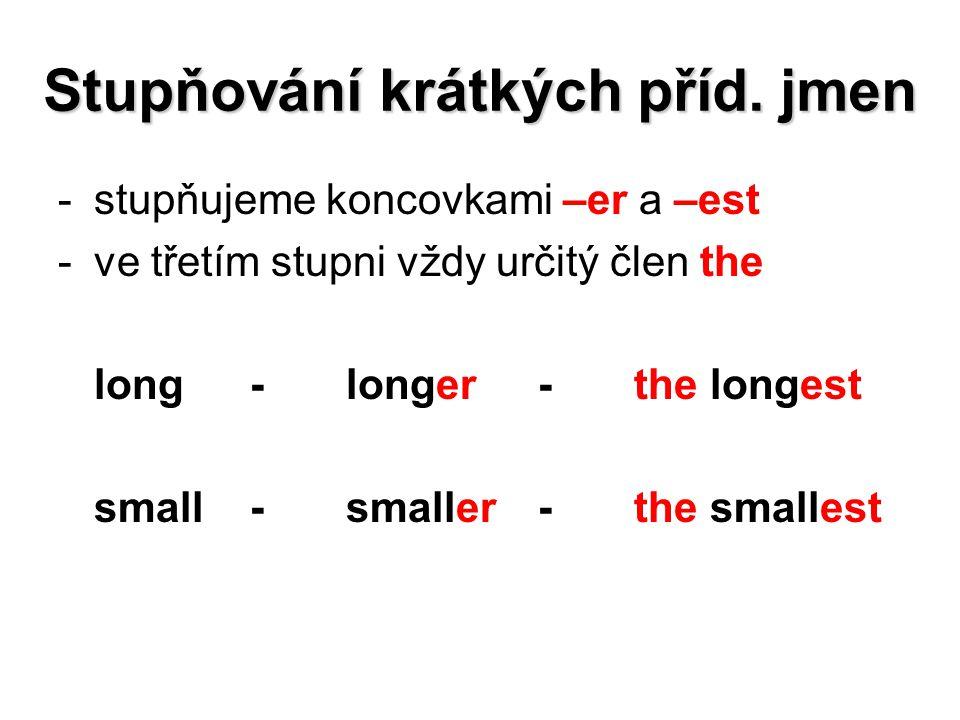Stupňování krátkých příd. jmen -stupňujeme koncovkami –er a –est -ve třetím stupni vždy určitý člen the long-longer-the longest small-smaller-the smal