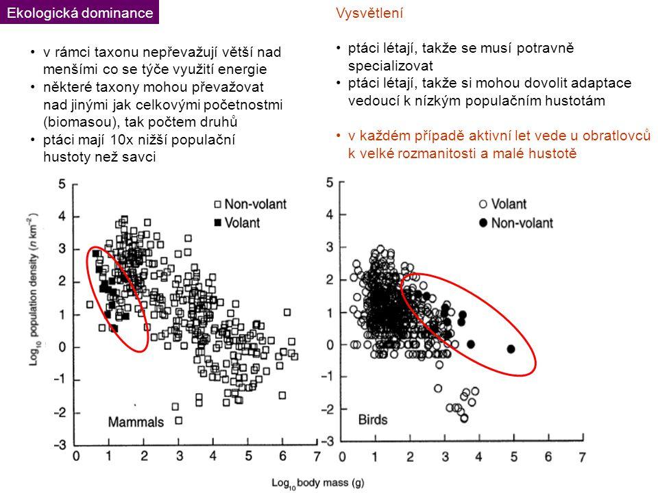 Vysvětlení ptáci létají, takže se musí potravně specializovat ptáci létají, takže si mohou dovolit adaptace vedoucí k nízkým populačním hustotám v každém případě aktivní let vede u obratlovců k velké rozmanitosti a malé hustotě Ekologická dominance v rámci taxonu nepřevažují větší nad menšími co se týče využití energie některé taxony mohou převažovat nad jinými jak celkovými početnostmi (biomasou), tak počtem druhů ptáci mají 10x nižší populační hustoty než savci
