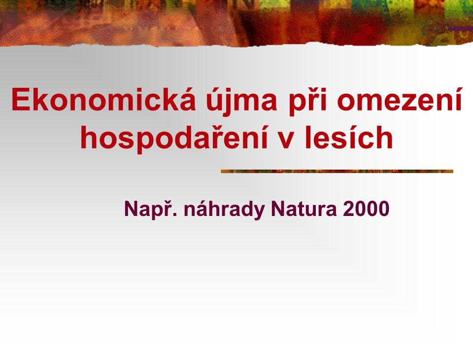 Ekonomická újma při omezení hospodaření v lesích Např. náhrady Natura 2000