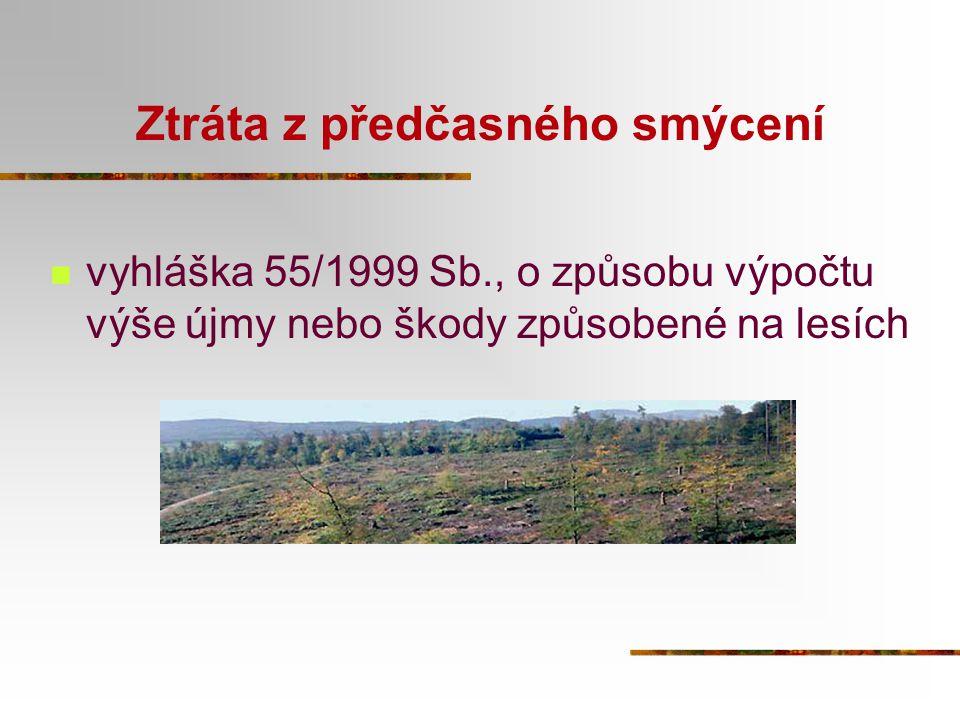Ztráta z předčasného smýcení vyhláška 55/1999 Sb., o způsobu výpočtu výše újmy nebo škody způsobené na lesích