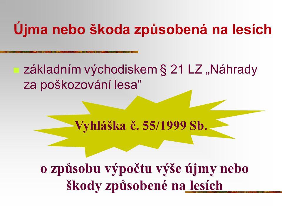 """Újma nebo škoda způsobená na lesích základním východiskem § 21 LZ """"Náhrady za poškozování lesa"""" Vyhláška č. 55/1999 Sb. o způsobu výpočtu výše újmy ne"""