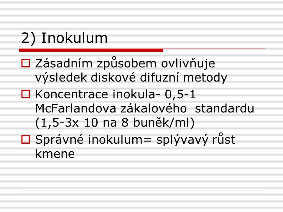 2) Inokulum  Zásadním způsobem ovlivňuje výsledek diskové difuzní metody  Koncentrace inokula- 0,5-1 McFarlandova zákalového standardu (1,5-3x 10 na