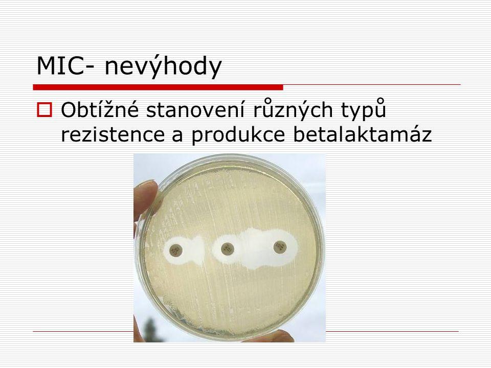 MIC- nevýhody  Obtížné stanovení různých typů rezistence a produkce betalaktamáz