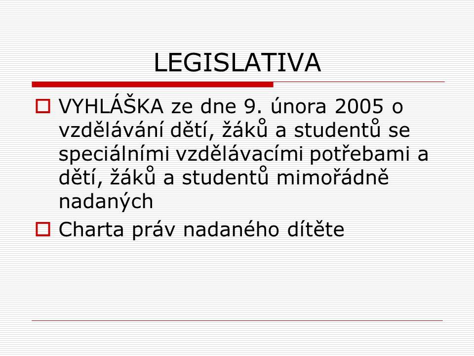 LEGISLATIVA  VYHLÁŠKA ze dne 9.
