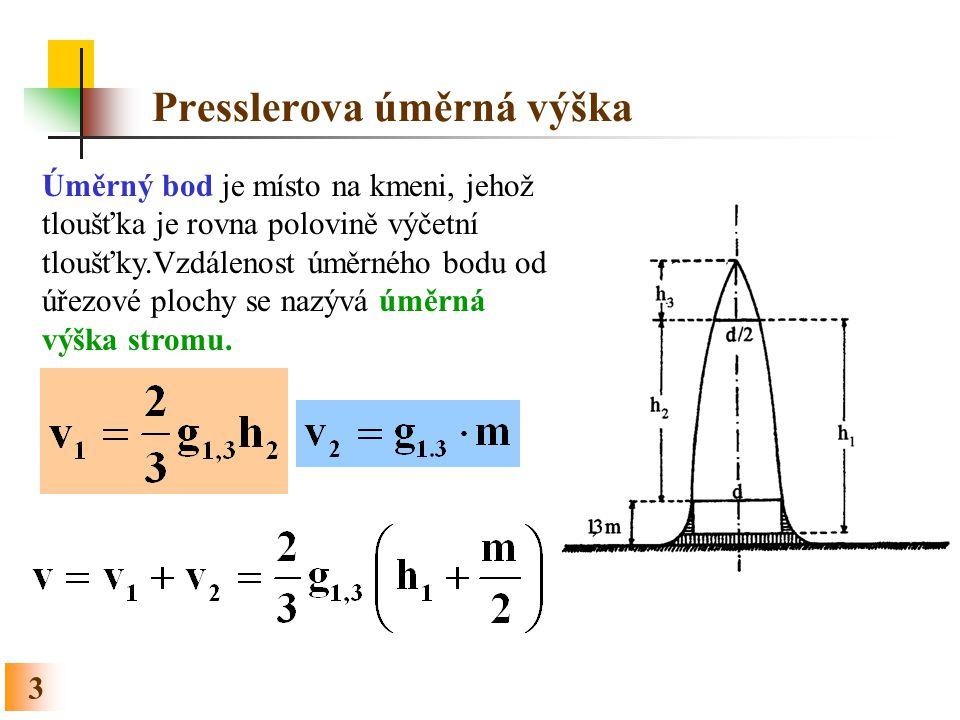 3 Presslerova úměrná výška Úměrný bod je místo na kmeni, jehož tloušťka je rovna polovině výčetní tloušťky.Vzdálenost úměrného bodu od úřezové plochy
