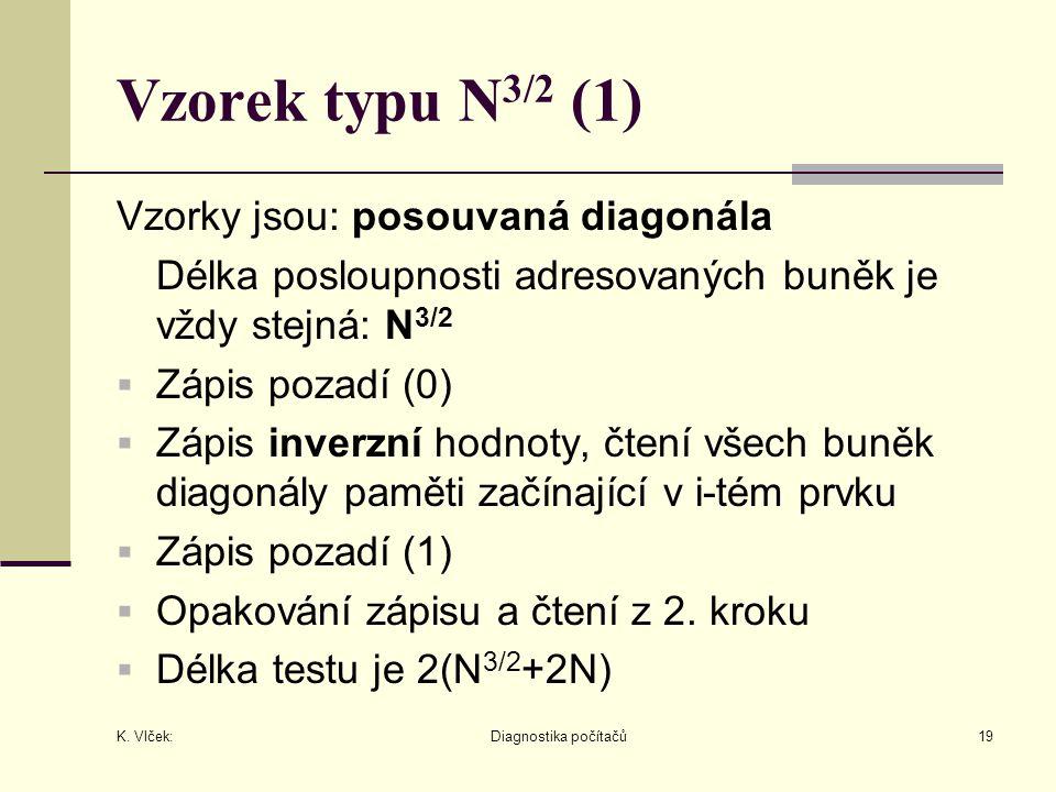 K. Vlček: Diagnostika počítačů19 Vzorek typu N 3/2 (1) Vzorky jsou: posouvaná diagonála Délka posloupnosti adresovaných buněk je vždy stejná: N 3/2 