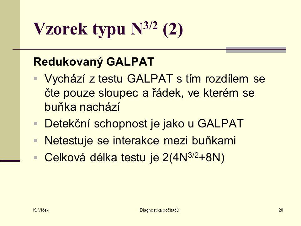 K. Vlček: Diagnostika počítačů20 Vzorek typu N 3/2 (2) Redukovaný GALPAT  Vychází z testu GALPAT s tím rozdílem se čte pouze sloupec a řádek, ve kter