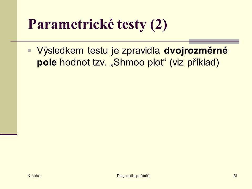 """K. Vlček: Diagnostika počítačů23 Parametrické testy (2)  Výsledkem testu je zpravidla dvojrozměrné pole hodnot tzv. """"Shmoo plot"""" (viz příklad)"""