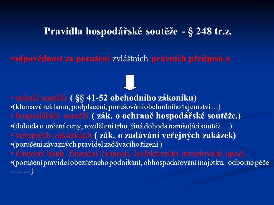 Pravidla hospodářské soutěže - § 248 tr.z.