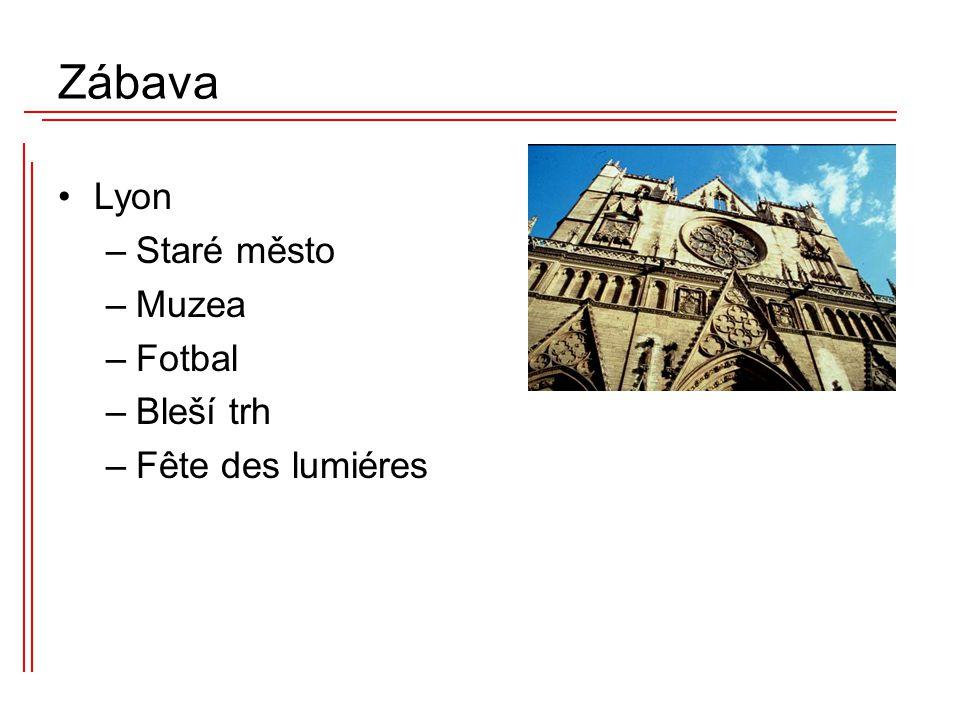 Lyon –Staré město –Muzea –Fotbal –Bleší trh –Fête des lumiéres Zábava