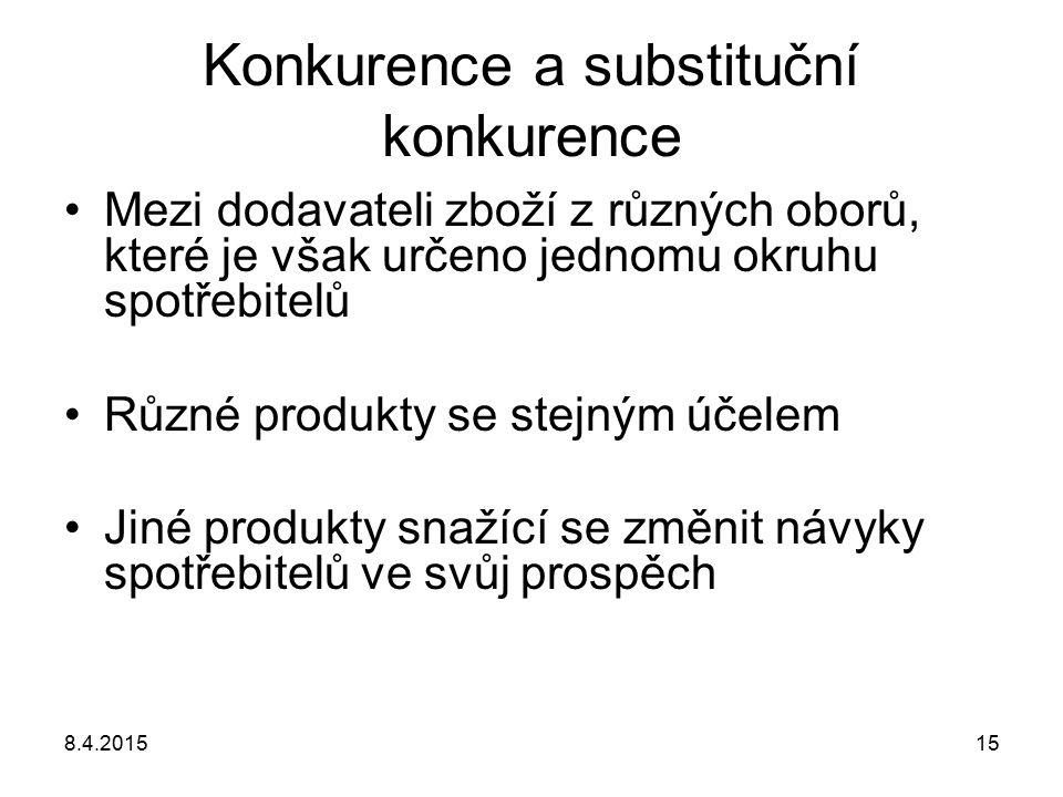 8.4.201515 Konkurence a substituční konkurence Mezi dodavateli zboží z různých oborů, které je však určeno jednomu okruhu spotřebitelů Různé produkty