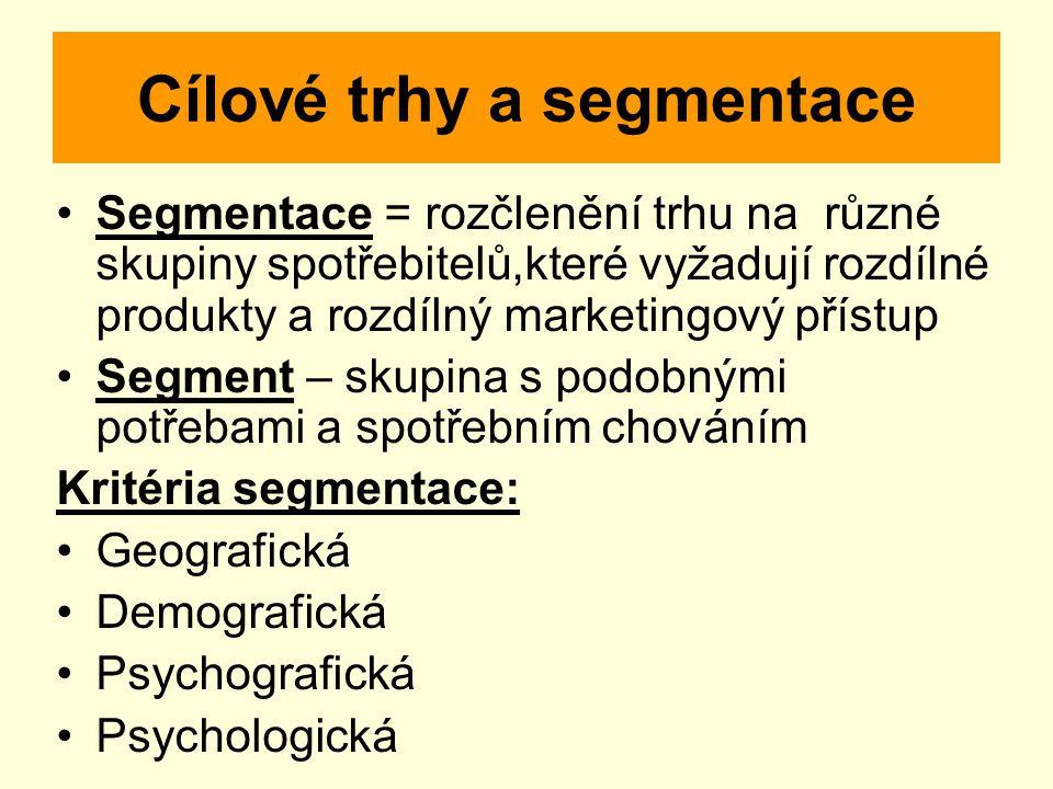 Cílové trhy a segmentace Segmentace = rozčlenění trhu na různé skupiny spotřebitelů,které vyžadují rozdílné produkty a rozdílný marketingový přístup Segment – skupina s podobnými potřebami a spotřebním chováním Kritéria segmentace: Geografická Demografická Psychografická Psychologická