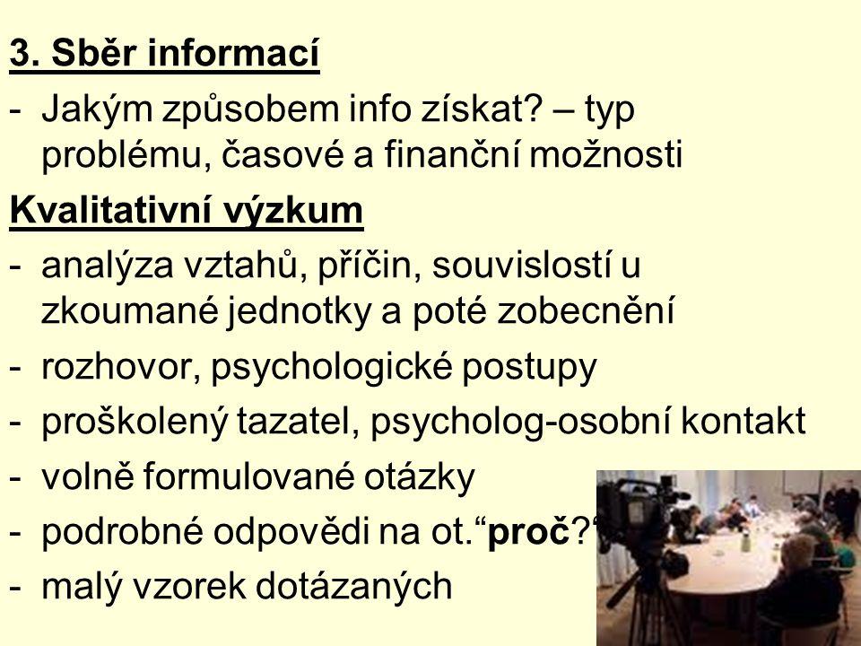 3.Sběr informací -Jakým způsobem info získat.
