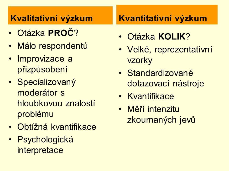 Kvalitativní výzkum Otázka PROČ.
