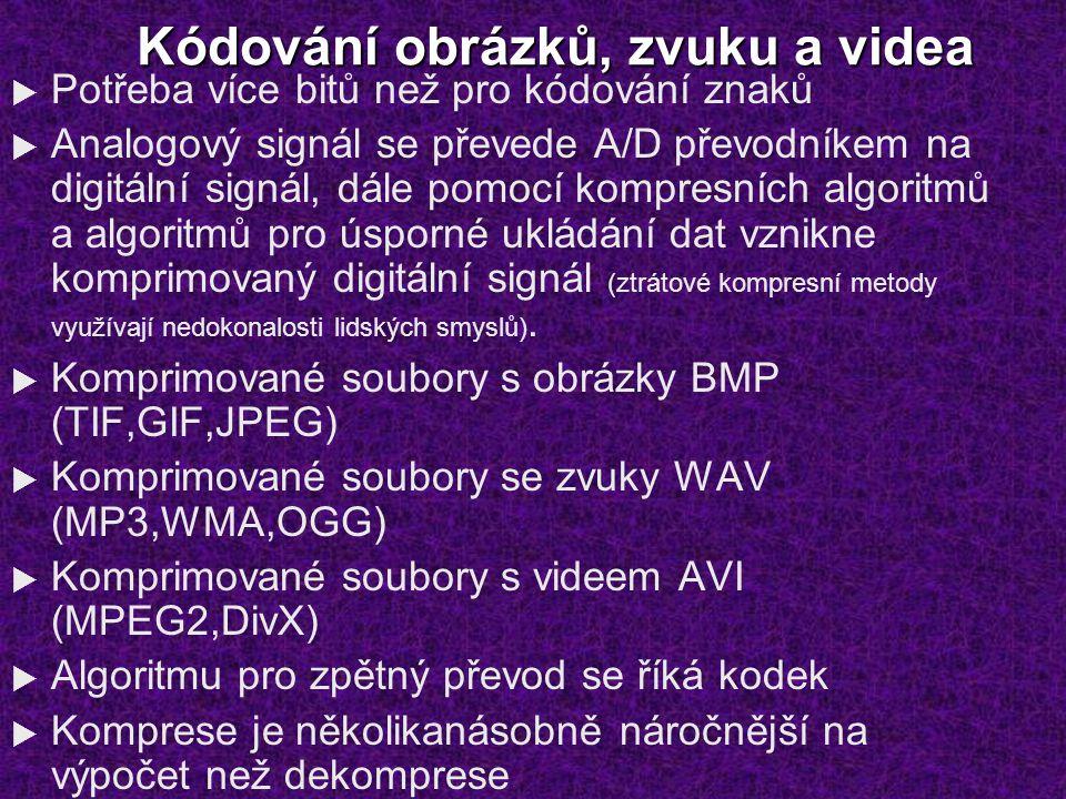 Kódování obrázků, zvuku a videa  Potřeba více bitů než pro kódování znaků  Analogový signál se převede A/D převodníkem na digitální signál, dále pom