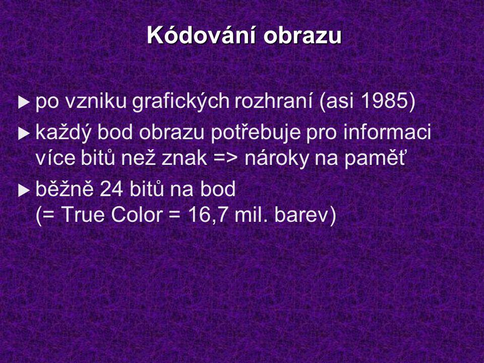 Kódování obrazu  po vzniku grafických rozhraní (asi 1985)  každý bod obrazu potřebuje pro informaci více bitů než znak => nároky na paměť  běžně 24 bitů na bod (= True Color = 16,7 mil.