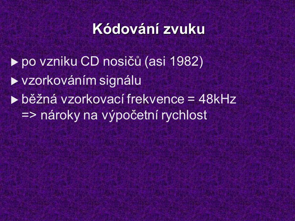 Kódování zvuku  po vzniku CD nosičů (asi 1982)  vzorkováním signálu  běžná vzorkovací frekvence = 48kHz => nároky na výpočetní rychlost