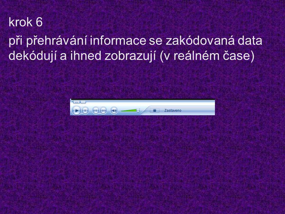 krok 6 při přehrávání informace se zakódovaná data dekódují a ihned zobrazují (v reálném čase)