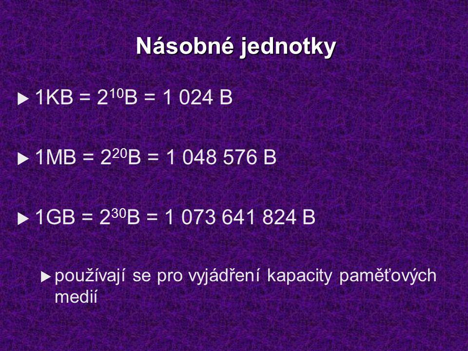 Násobné jednotky  1KB = 2 10 B = 1 024 B  1MB = 2 20 B = 1 048 576 B  1GB = 2 30 B = 1 073 641 824 B  používají se pro vyjádření kapacity paměťový