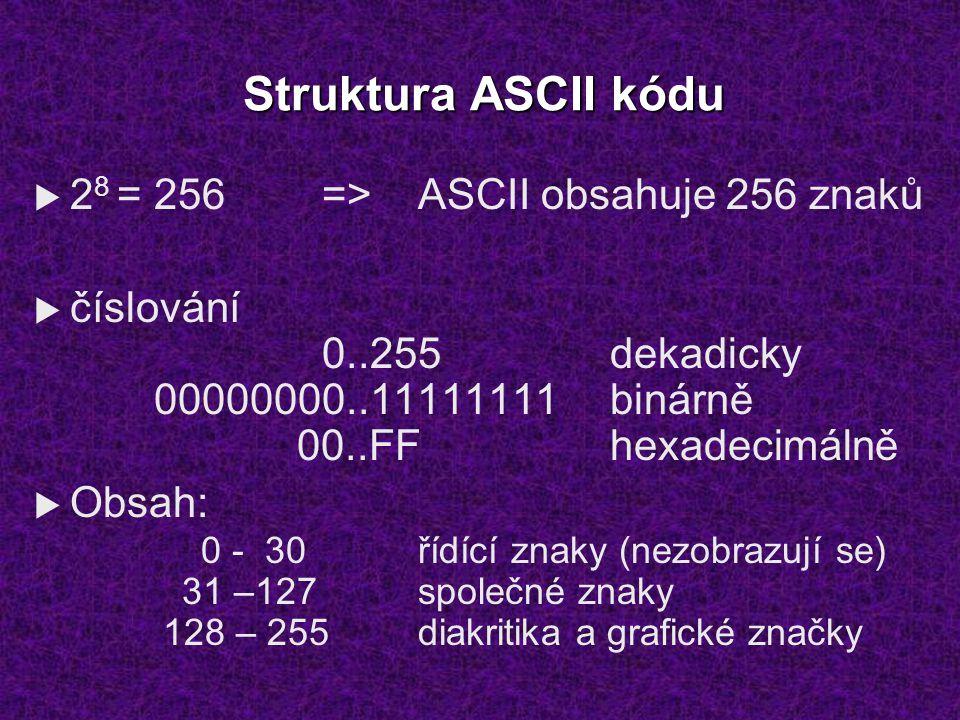 Struktura ASCII kódu  2 8 = 256=>ASCII obsahuje 256 znaků  číslování 0..255dekadicky 00000000..11111111binárně 00..FFhexadecimálně  Obsah: 0 - 30řídící znaky (nezobrazují se) 31 –127společné znaky 128 – 255diakritika a grafické značky
