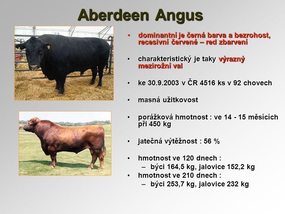 Aberdeen Angus dominantní je černá barva a bezrohost, recesivní červené – red zbarvenídominantní je černá barva a bezrohost, recesivní červené – red z