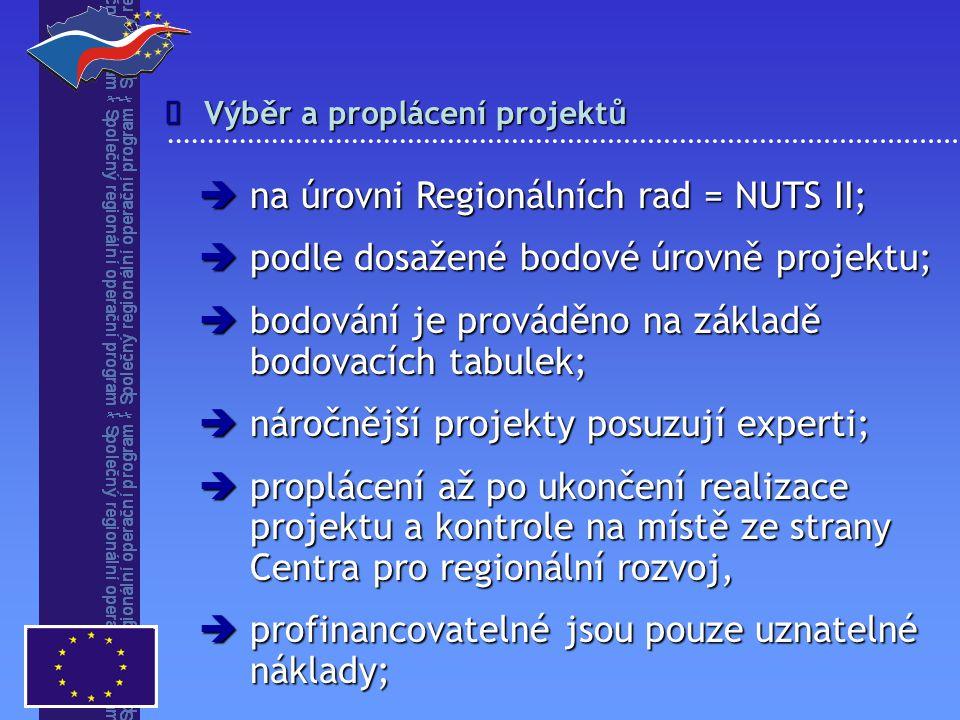 Výběr a proplácení projektů   na úrovni Regionálních rad = NUTS II;  podle dosažené bodové úrovně projektu;  bodování je prováděno na základě bodovacích tabulek;  náročnější projekty posuzují experti;  proplácení až po ukončení realizace projektu a kontrole na místě ze strany Centra pro regionální rozvoj,  profinancovatelné jsou pouze uznatelné náklady;