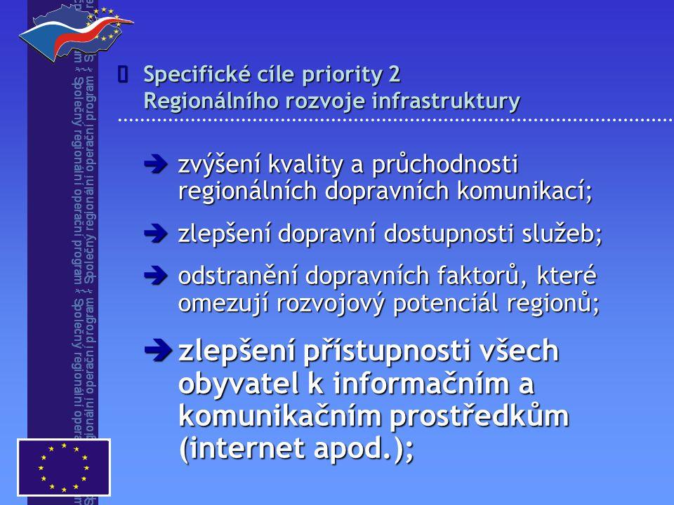 Specifické cíle priority 2 Regionálního rozvoje infrastruktury   zvýšení kvality a průchodnosti regionálních dopravních komunikací;  zlepšení dopravní dostupnosti služeb;  odstranění dopravních faktorů, které omezují rozvojový potenciál regionů;  zlepšení přístupnosti všech obyvatel k informačním a komunikačním prostředkům (internet apod.);