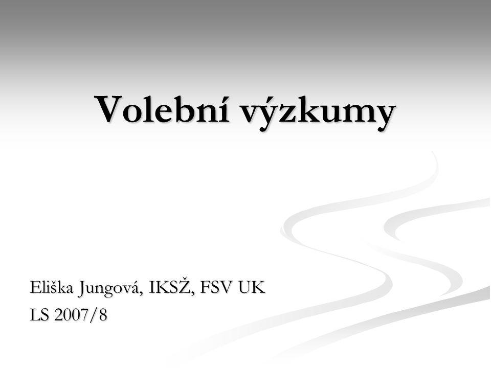 Volební výzkumy Eliška Jungová, IKSŽ, FSV UK LS 2007/8