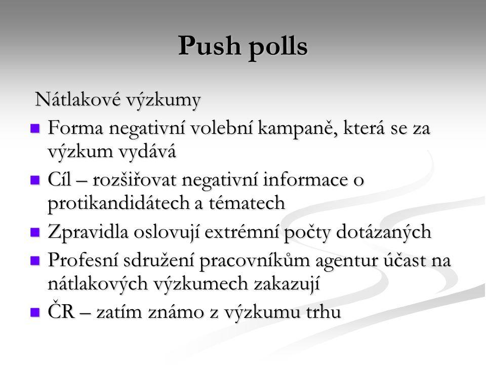 Push polls Nátlakové výzkumy Nátlakové výzkumy Forma negativní volební kampaně, která se za výzkum vydává Forma negativní volební kampaně, která se za výzkum vydává Cíl – rozšiřovat negativní informace o protikandidátech a tématech Cíl – rozšiřovat negativní informace o protikandidátech a tématech Zpravidla oslovují extrémní počty dotázaných Zpravidla oslovují extrémní počty dotázaných Profesní sdružení pracovníkům agentur účast na nátlakových výzkumech zakazují Profesní sdružení pracovníkům agentur účast na nátlakových výzkumech zakazují ČR – zatím známo z výzkumu trhu ČR – zatím známo z výzkumu trhu