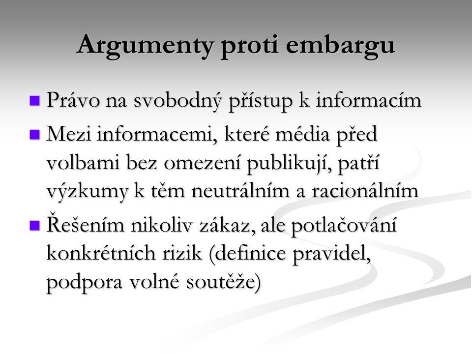 Argumenty proti embargu Právo na svobodný přístup k informacím Právo na svobodný přístup k informacím Mezi informacemi, které média před volbami bez omezení publikují, patří výzkumy k těm neutrálním a racionálním Mezi informacemi, které média před volbami bez omezení publikují, patří výzkumy k těm neutrálním a racionálním Řešením nikoliv zákaz, ale potlačování konkrétních rizik (definice pravidel, podpora volné soutěže) Řešením nikoliv zákaz, ale potlačování konkrétních rizik (definice pravidel, podpora volné soutěže)