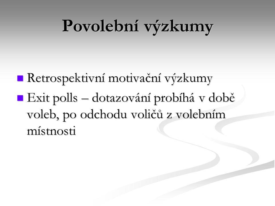 Povolební výzkumy Retrospektivní motivační výzkumy Retrospektivní motivační výzkumy Exit polls – dotazování probíhá v době voleb, po odchodu voličů z volebním místnosti Exit polls – dotazování probíhá v době voleb, po odchodu voličů z volebním místnosti